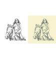 horsewoman riding a horse vector image