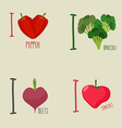 I love vegetables broccoli and beetroot Symbol vector image vector image