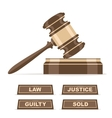 Judges gavel or auction hammer vector image