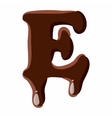 Letter E from latin alphabet made of chocolate vector image