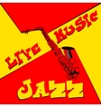 live music saxophone red and yellow vector image vector image