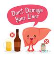liver human internal organ cartoon character vector image vector image