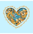 Love card Turquoise orange heart design with vector image vector image