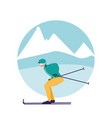 man practicing skiing on ice avatar character vector image vector image