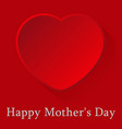 mothers day card red heart with shadow and text vector image vector image