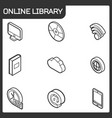 online library outline isometric icons vector image