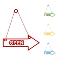 Open sign Set of line icons vector image