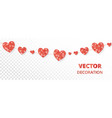red hearts frame seamless border glitter vector image vector image