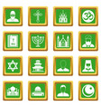 religious symbol icons set green vector image vector image