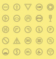 road sign line color icons on yellow background vector image vector image