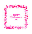 scattered doodle red hearts frame on white vector image