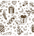 seamless pattern of christmas gifts for children vector image