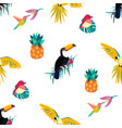 seamless tropical pattern with toucan parrot vector image vector image
