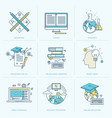 set flat line icons for online education vector image vector image
