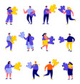 set flat people connecting puzzle elements vector image