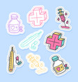 set medicine stickers pins patches and vector image vector image