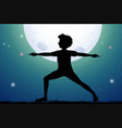 silhouette man doing yoga on fullmoon night vector image vector image