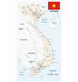 socialist republic of vietnam road map with flag vector image vector image
