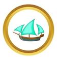 Three sailing wooden ship icon vector image vector image