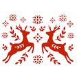 Traditional Deer Folk Motif vector image vector image