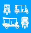 tuk rickshaw thailand icons set simple style vector image vector image