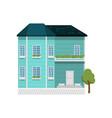 turquoise color two-story house with balcony vector image