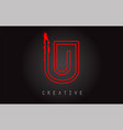 u monogram letter logo design brush paint stroke vector image vector image