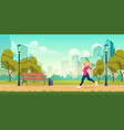 woman jogging in city park cartoon vector image