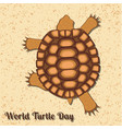 world turtle day reptile turtle running over the vector image vector image