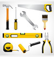 Realistic carpenter tools icons collection vector image