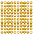 100 stadium icons set gold vector image vector image