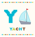 alphabet for children letter y and a yacht vector image
