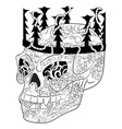 antistress coloring page with halloween evil skull vector image vector image