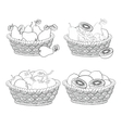 Baskets with fruits and vegetables outline vector image vector image