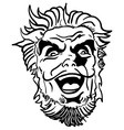 black and white crazy man vector image vector image