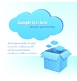 Blue plastic cloud and box of clouds with pattern vector image vector image