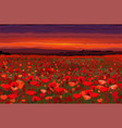 bright poppy field with sunset sky vector image vector image