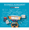 business agreement concept wig doodle design style vector image vector image