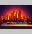 car traces in modern city with night illumination vector image vector image