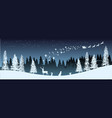 christmas silhouette panorama of santa claus vector image