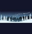 christmas silhouette panorama santa claus vector image vector image