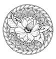 Circle summer doodle floral mandala