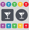 cocktail icon sign A set of 12 colored buttons vector image vector image