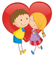 Couple and heart vector image vector image