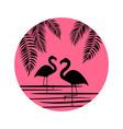 cute pink flamingo icon vector image vector image