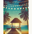 decorative holiday lights background in beach vector image