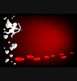 design with cupid and spilled rose petals vector image