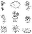 Doodle set spring flower clouds vector image vector image