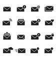 email envelope black icon set message vector image vector image