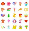 festive season icons set cartoon style vector image vector image